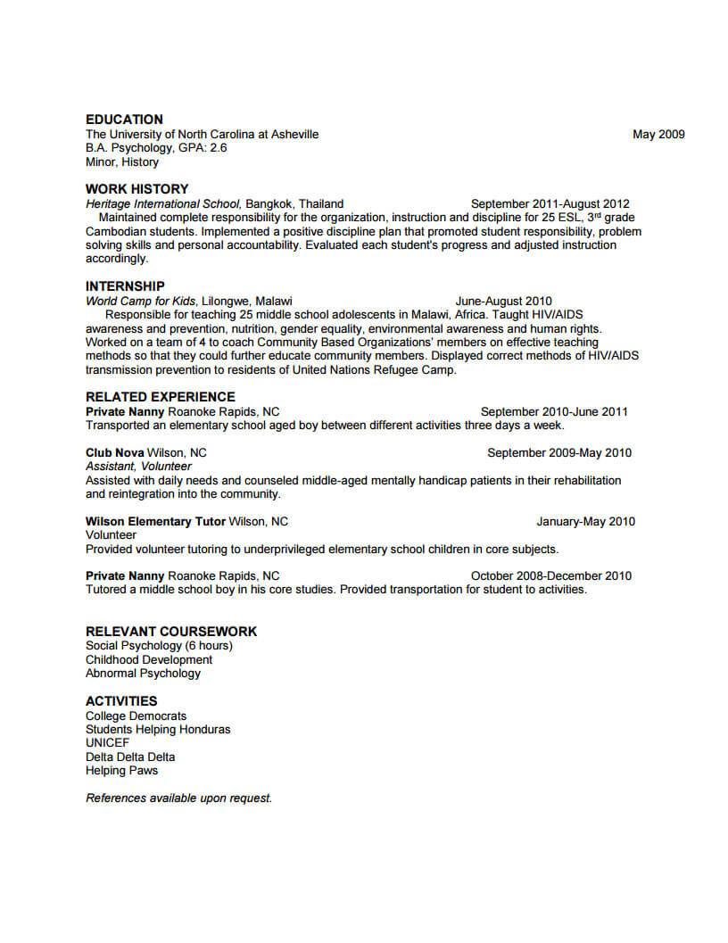 listing related coursework on resume